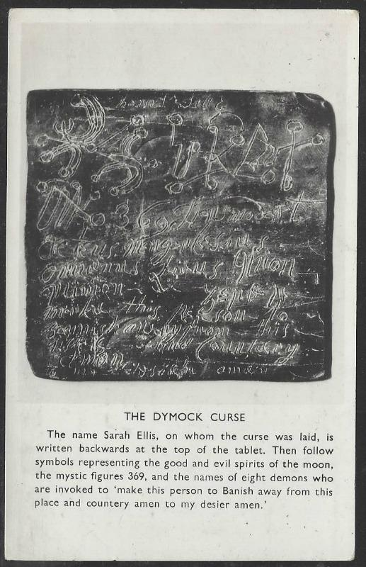 The Dymock Curse on postcard. Macabre