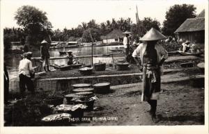 CPA AK INDONESIA DUTCH INDIES - Pasar Ikan Batavia JAKARTA real photo (a1751)
