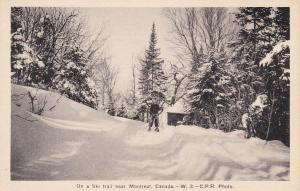 Skiing; On a Ski Trail near MONTREAL , Quebec , Canada , 1910-30s