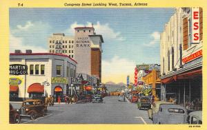 Tucson AZ Street View S. H. Kress 5 & 10 cent Storefronts  Linen Postcard