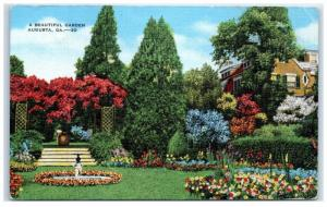 Mid-1900s A Beautiful Garden, Augusta, GA Postcard