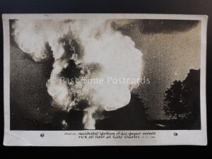 America LAKE CHARLES Ignited Gas Geyser c1927 Original Pathe News Old Postcard