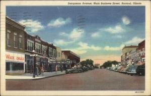 Rantoul IL Sangamon Ave Main St. Wade Drugs Linen Postcard