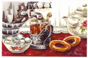 Glass CUP of Tea Samovar Sugar Teapot Bagels Russian Unposted Modern Postcard