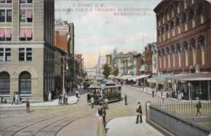 Trolleys On F Street Northwest Showing U S Treasury In Background Washington ...