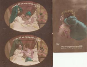 Military lover set of 3 early postcard