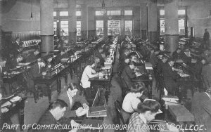 WOODBURY BUSINESS COLLEGE Commercial Room, Los Angeles c1910s Vintage Postcard