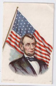 Abraham Lincoln Flag Vintage Patriotic Moire Surface