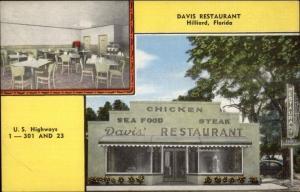 Hilliard FL Davis Restaurant Roadisde Linen Postcard