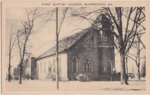 Georgia Ga Postcard c1920-30s WARRENTON First Baptist Church