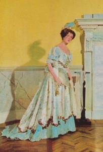Ball Gown Of Brocaded Satin Assembly Rooms Bath Fashion Postcard