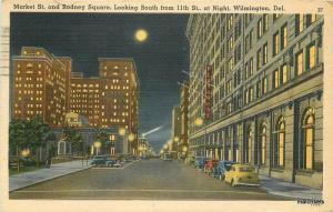 1943 Wilmington Delaware Market Rodney Night autos Del Mar postcard 7935