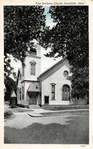 G29/ Louisville Ohio Postcard c1940s First Brethren Church Building