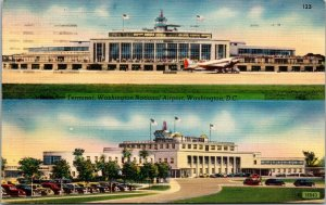 VTG Terminal Washington National Airport Aviation Washington DC Linen Postcard