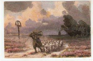 Shepherd leading flock under storm Nice old vinttage postcard