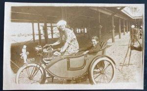 Mint USA RPPC Postcard Women On Motor Tri Cycle Kempie Camera