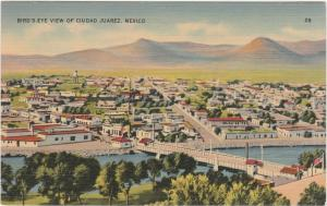 Aerial View of Ciudad Juarez, Mexico - Linen