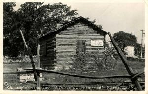 KY - Harrodsburg. Pioneer Memorial State Park. Log Cabin that Lincoln's Paren...