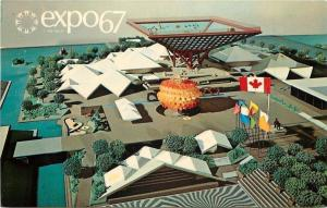 Montreal Canada~Expo 67~Canada Pavilion~11 Acres~Artist Drawing~1967 Postcard