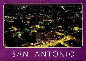 Texas San Antonio Nighttime View Of Downtown