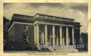 Monroe, NC USA,  Post Office Postcard, Postoffice Post Card Old Vintage Antiq...