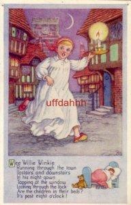 NURSERY RHYME WEE WILLIE WINKIE iluustration M.S. publ by J. Salmon Ltd. England
