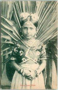 1910s SRI LANKA Ceylon Postcard Jaffna Tamil Child Girl in Native Dress Unused