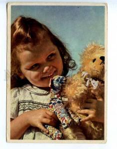 221286 GERMANY girl w/ TEDDY BEAR & HORSE old postcard