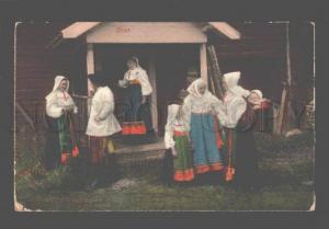 080770 FINLAND Orsa girl native dress Vintage colorful PC