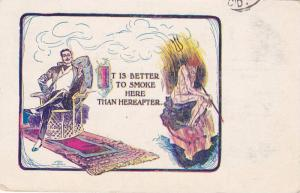 It is better to smoke here than hereafter, Man in chair, Devil in Hell,  PU-...