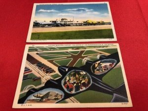 2 postcards 1940 CHICAGO MUNICIPAL AIRPORT 63rd & Cicero one of busiest in world
