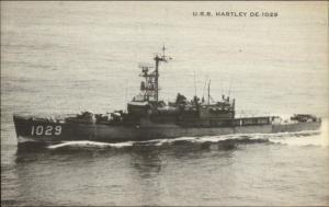US Naval Ship USS Hartley DE-1029 at Newport Narragansett Bay RI Postcard