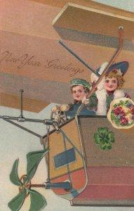 NEW YEAR, 1900-10s ; Kids in an Airship #2 , PFB 9067