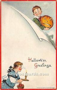 Halloween Postcard Old Vintage Post Card Artist Frances Brundage 1915