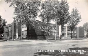 B91/ Jonesville Michigan Mi Real Photo RPPC Postcard c50s High School Building