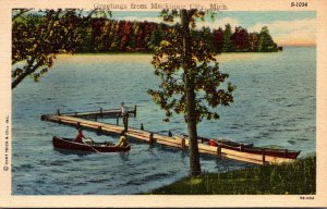 Michigan Machinaw City Greetings Fishing Scene Curteich