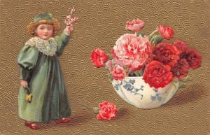 Victorian Lil Girl in Green~Exaggerated Carnations in Blue China Bowl~Gold Back