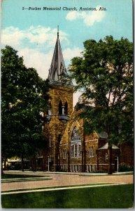 Anniston, Alabama Postcard PARKER MEMORIAL CHURCH Building View Linen 1950