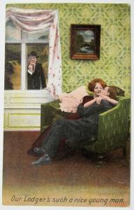 Antik Romantische Postkarte - Husband & Liebhaber
