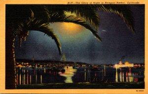 California Newport Harbor At Night Curteich