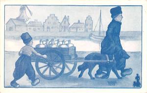Post Card Old Vintage Antique Dutch Dog Drawn Unused