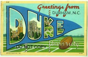 Large Letter, DUKE University, Durham NC