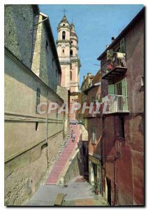 Modern Postcard The French Riviera Menton Old Town picturesque streets the Ch...