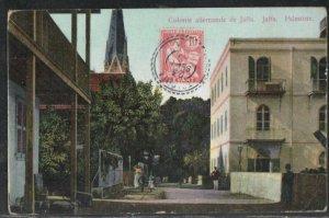 Germany Colony Jaffa Palestine 1910 PC from Tripoli Syrie - France Levant post