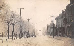 Saint St James MN~First Avenue South~Livery~Horse in Blanket~Ice Trees~1911 RPPC