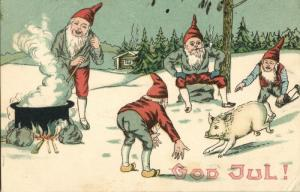 GOD JUL!, Swedish Christmas Postcard, Gnomes catching Pigs for Dinner (1909)