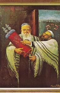 ARTIST Morris Katz, Jewish Theme Postcard; Rabbis Holding A Torah, 1967