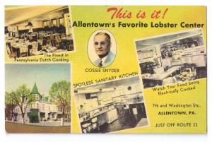 Cossie Snyder's Corner Allentown PA Restaurant Linen