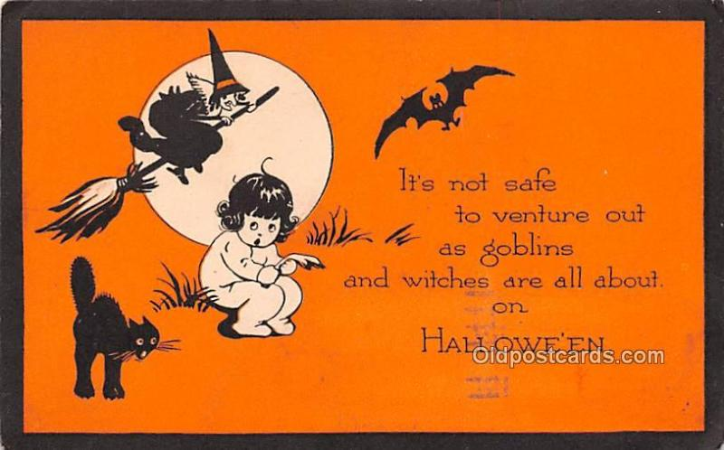 Halloween Post Card Old Vintage Antique Halloween Postcard 1921