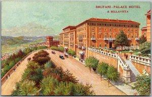 Vintage PERUGIA Italy Postcard BRUFANI PALACE MOTEL Street View c1930s Unused